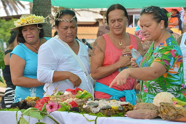 Rapanui experts judge the presentation and taste of the dishes Tapati Festival Easter Island