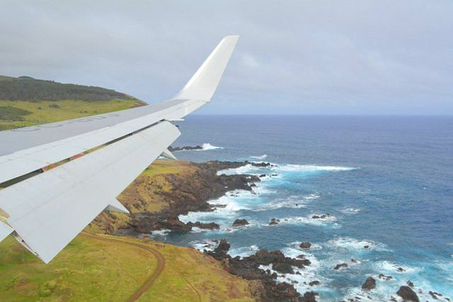 A plane arriving to the most remote airport in the world Easter Island Airport Mataveri Rapa Nui