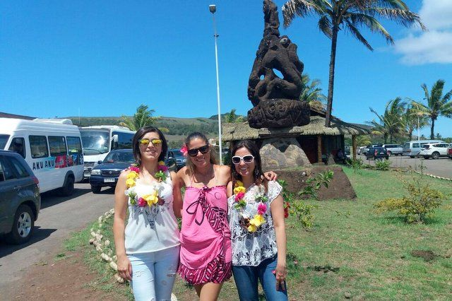 Welcome with flower necklaces at the Easter Island Airport