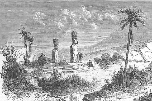 Old engraving showing the moai statues on a French expedition