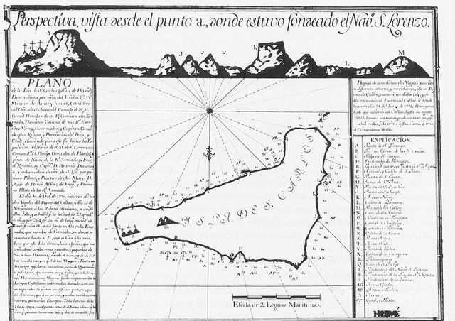 First cartographic map of Easter Island or San Carlos Island