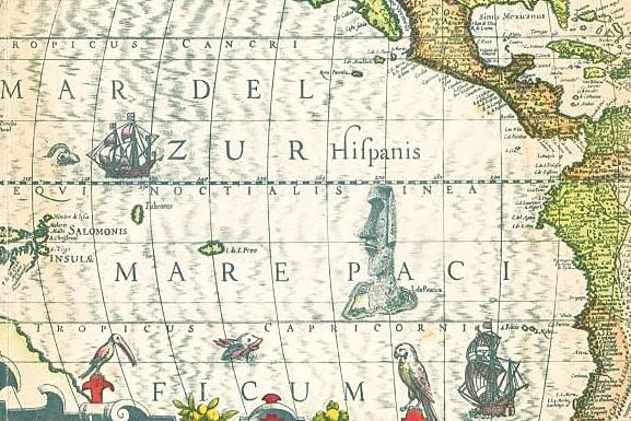 Detail of the cover map of the book Easter Island and its mysteries by Stephen Chauvet