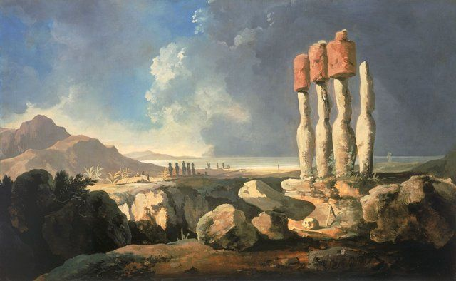 Easter Island Monuments by William Hodges. James Cook Expedition