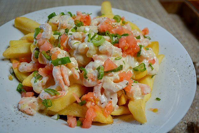 French fries with shrimp sauce Easter Island food