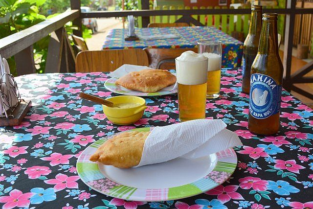 Tuna patties and local beer Mahina Easter Island money and prices