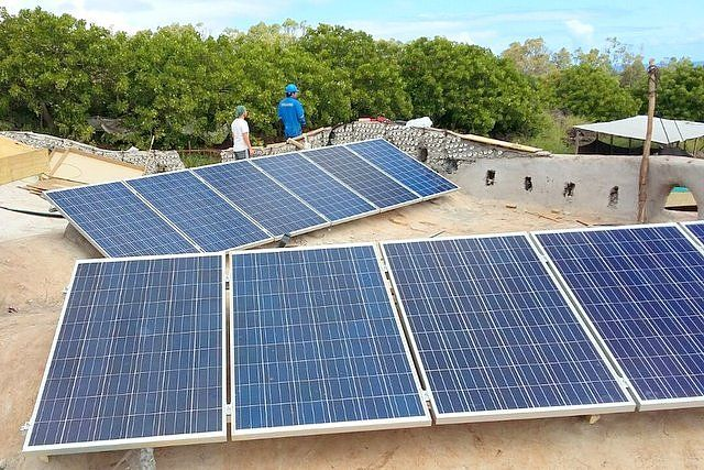 Solar panels installed on the roof of the Toki Rapa Nui school Easter Island